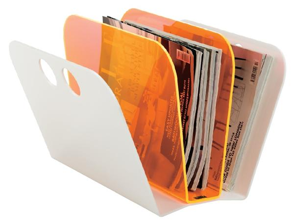 Magazine Holder In Orange And White Acryl By Neon Living Impressive Orange Magazine Holder